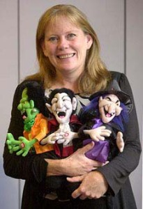 Paula Purnell with JC Penney's dolls
