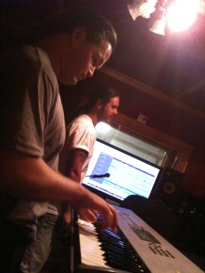"Laying down tracks for ""Funky Little Xmas"" (2010)"