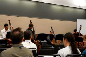 Leading the IUP Bass Ensemble: with Tony Grande, Brennan Proud, and Kevin Huhn. PMEA 2011 State Conference in Pittsburgh, PA